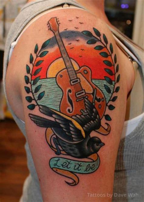 tatouage 201 paule guitare colombe par dave wah
