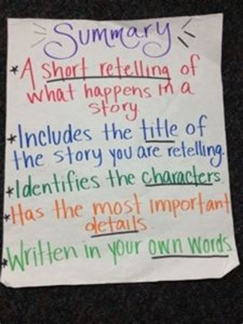 25 best ideas about summary anchor chart on