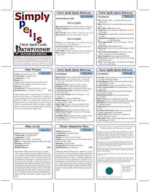 Pathfinder Spell Card Template by Paizo Simply Spells Cleric Spell Cards Pfrpg Pdf