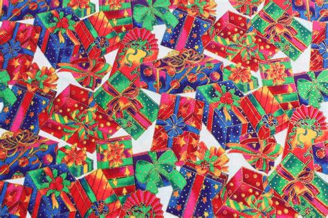 christmas fabric wrapped gifts presents bows by