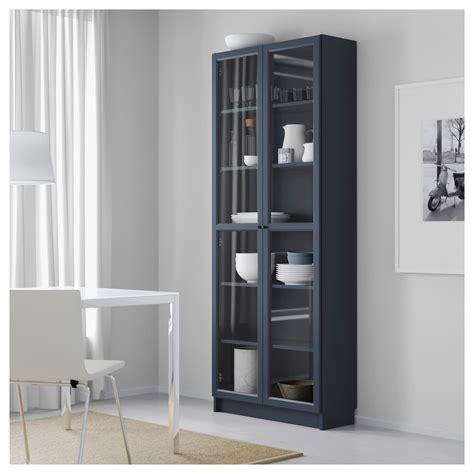 billy bookcase with glass doors blue 80x30x202 cm ikea