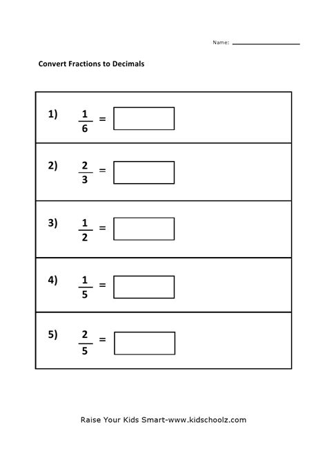 fraction decimal worksheet math worksheets ordering