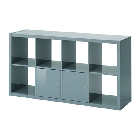 kallax shelving unit with doors high gloss gray