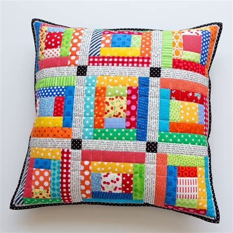 patchwork pillow scrappy quilted patchwork pillows