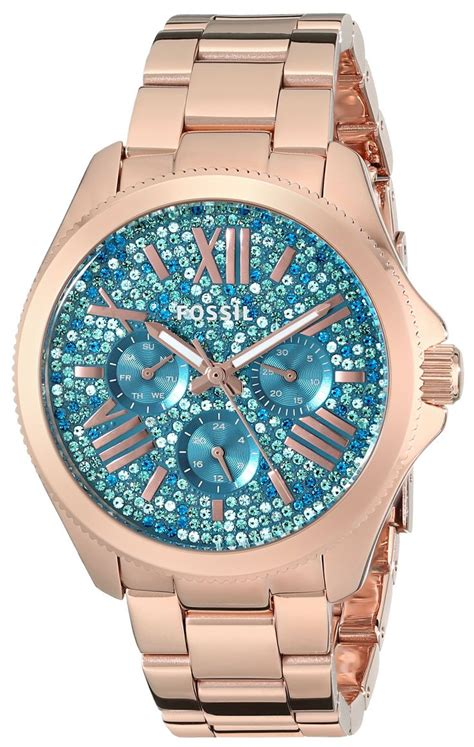 Fossil Cecile Am4539 Gold Pink fossil s am4594 cecile multifunction stainless steel gold tone