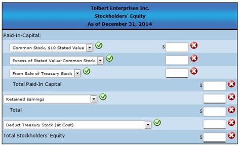 prepare the stockholders equity section of the balance sheet entries for selected corporate transactions tolber