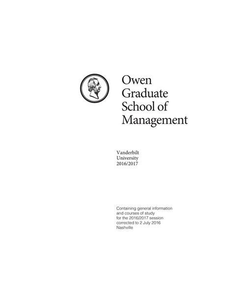 Vanderbilt Mba Requirements by Vanderbilt Business Course Catalog By Vanderbilt Owen