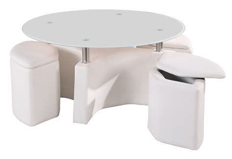 Glass Ottoman Coffee Table Coffee Table With 4 Ottoman Storage Stools In White Chrome Glass Ebay