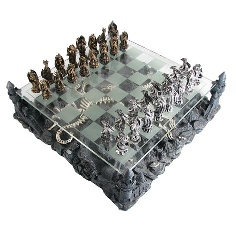 dragon chess set pewter and glass dragon chess set