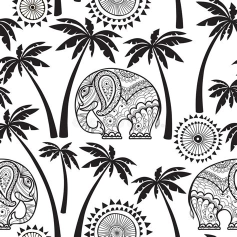 black and white pattern elephant seamless pattern with elephants and palms stock
