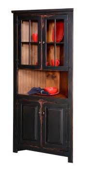 Country Kitchen Corner Cabinet Primitive Rustic Corner Cabinet Pantry Country Kitchen Cottage Furniture Glass Ebay