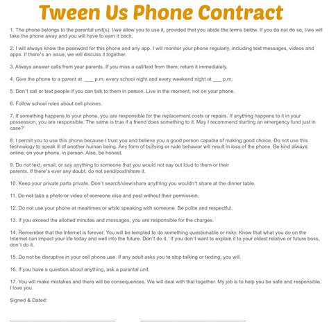 Parent Child Behavior Contract Template by Phone Contract Keeps Parents And On The Same Page