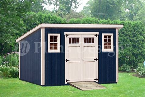Modern Storage Shed Plans by 10 X 14 Deluxe Modern Backyard Storage Shed Plans