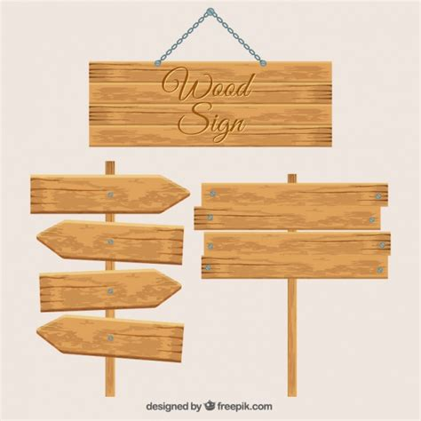Wooden Sign Poster 1 three wooden signs vector free