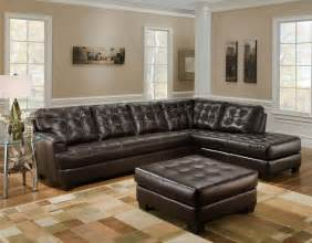 light yellow living room paint wall furniture dark brown leather tufted sectional chaise lounge sofa with