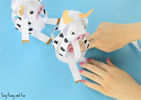 cow paper craft easy paper cow craft farm animal craft ideas easy