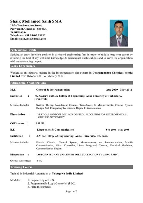 resume format for freshers electrical engineers resume sles for freshers eee engineers listmachinepro