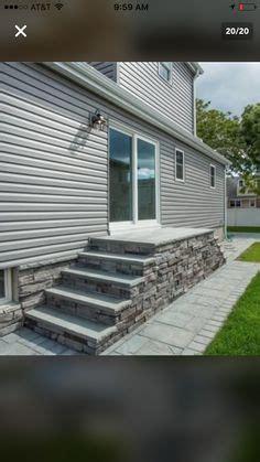 outdoor steps  railing side entrance backdoor backyard nj carls fencing decking  home