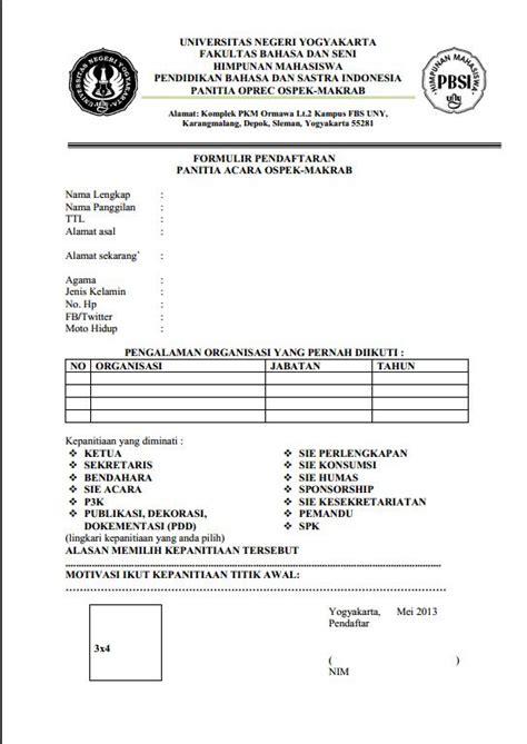 hima pbsi fbs uny formulir pendaftaran panitia ospek makrab hima pbsi 2013