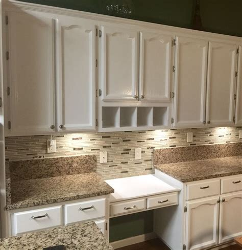 refinished oak cabinets with fresh coat of benjamin advanced semi gloss enamel color