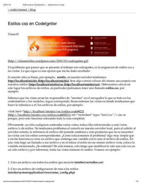 codeigniter code sles estilos css en code igniter 171 walter