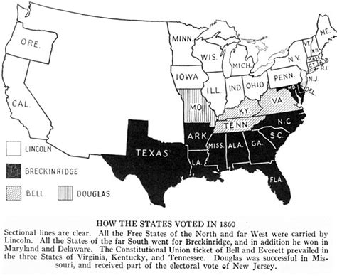 abraham lincoln impact on the civil war how the states voted in 1860 mrlincolnandfreedom org