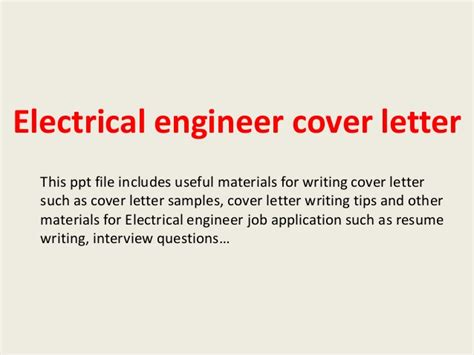 electrical cover letter electrical engineer cover letter
