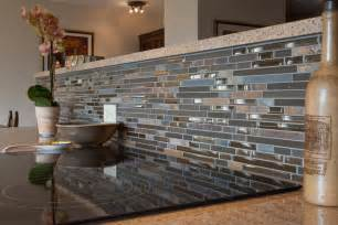 Blue Kitchen Tile Backsplash blue brown gray glass mosaic linear tiles backsplash white pictures to