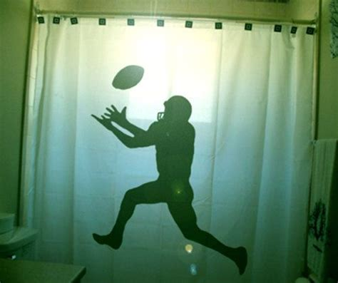 football shower curtain player bathroom decor  kids