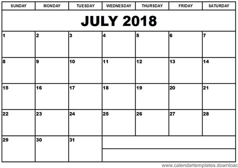 printable calendar july 2018 printable calendar july 2018 template download free