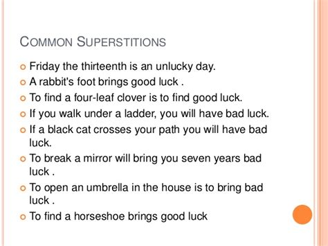 Bad Luck Superstitions | superstitions