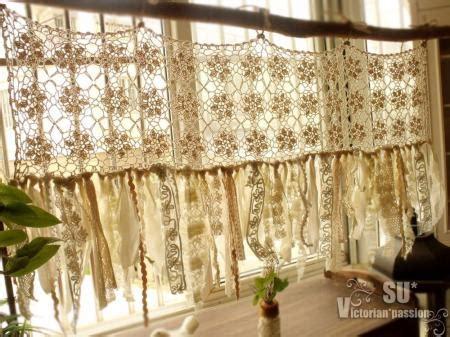 cream shabby chic curtains vintage romantic kitchen valance boho crochet curtain