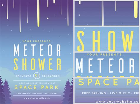 meteor shower flyer template flyerheroes