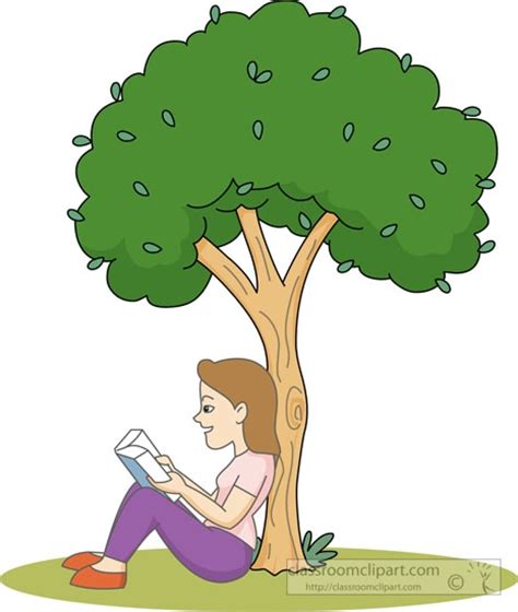 girl reading a book under a tree clipart   clipartsgram