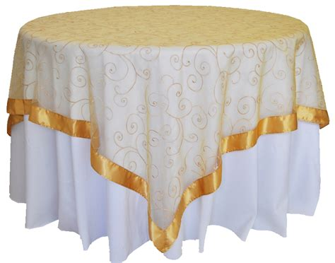 Square Organza Gold gold embroidered swirl sheer organza table overlays