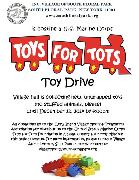 Toys For Tots Toy Drive At Village Hall Starts Today The Incorporated Village Of South Floral Park Toys For Tots Email Template