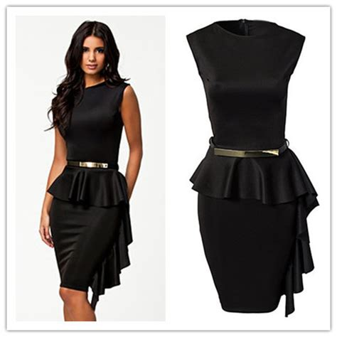 renda peplum dress 2016 vestido de renda curto black one side draped stylish