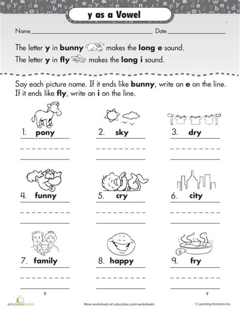 I E Worksheets by Y As A Vowel Worksheets