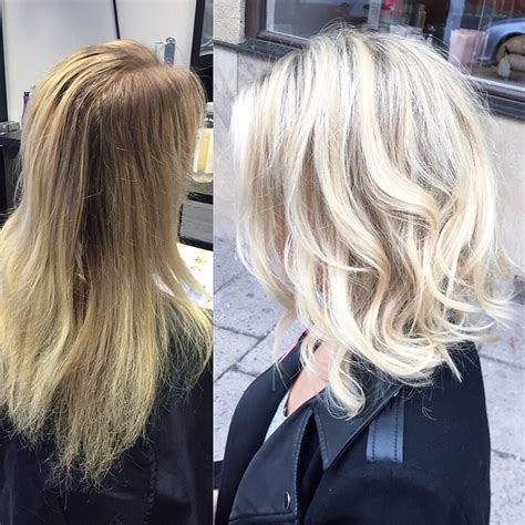 before and after long hair to lob aschblond farbe vlog von hell auf dunkel neue haarfarbe