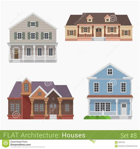 home design elements flat style countryside cottage vector set stock vector
