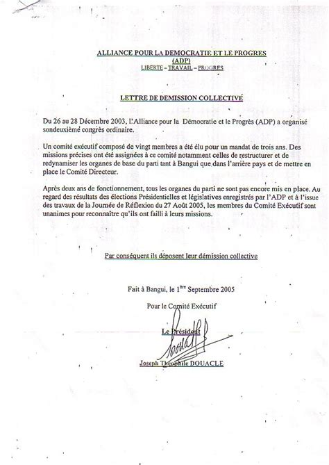 Lettre De Notification De Stage Modele Lettre De Demission D Un Parti Politique Document