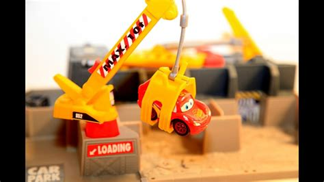 disney cars lightning mcqueen crushed  junkyard car