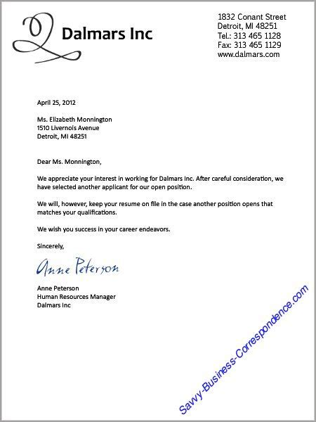 Rejection Letter Etiquette Business Letters Search