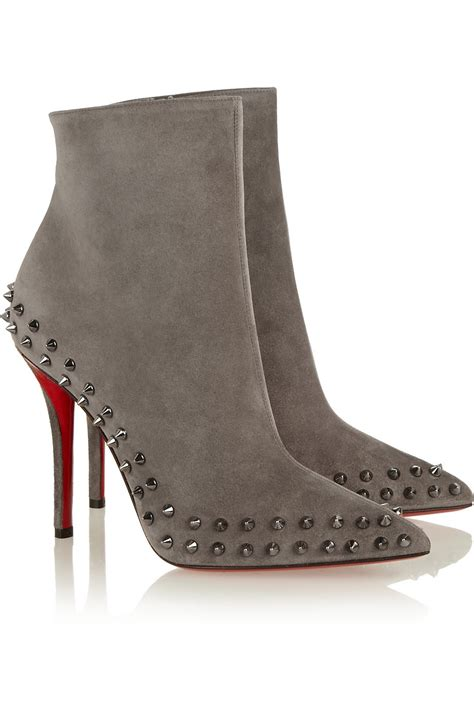 Christian Louboutin Boots 1 Christian Louboutin Willeta 100 Spiked Suede Ankle Boots