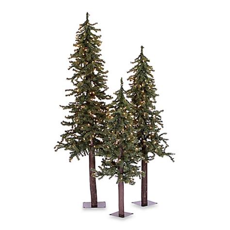 artificial christmas tree 3 pcs sets buy vickerman 3 alpine pre lit trees with clear lights from bed bath