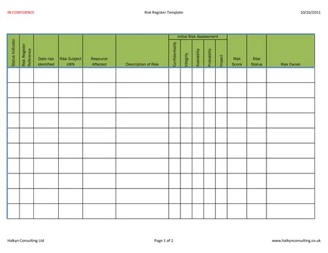 hse risk register template risk management register template gallery