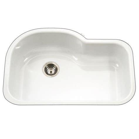 undermount offset single bowl sink houzer porcela series undermount porcelain enamel steel 31