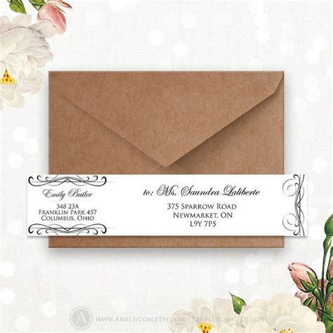 envelope label template printable address labels editable instant digital