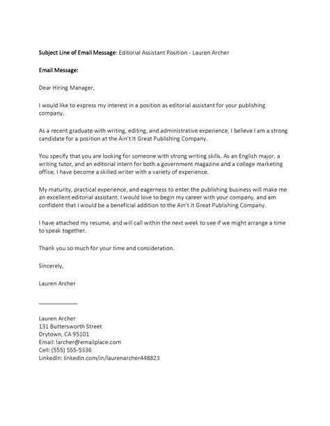 Sample ? Email Cover Letter for a Job