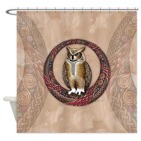 owl shower curtain celtic owl shower curtain by artoffoxvox